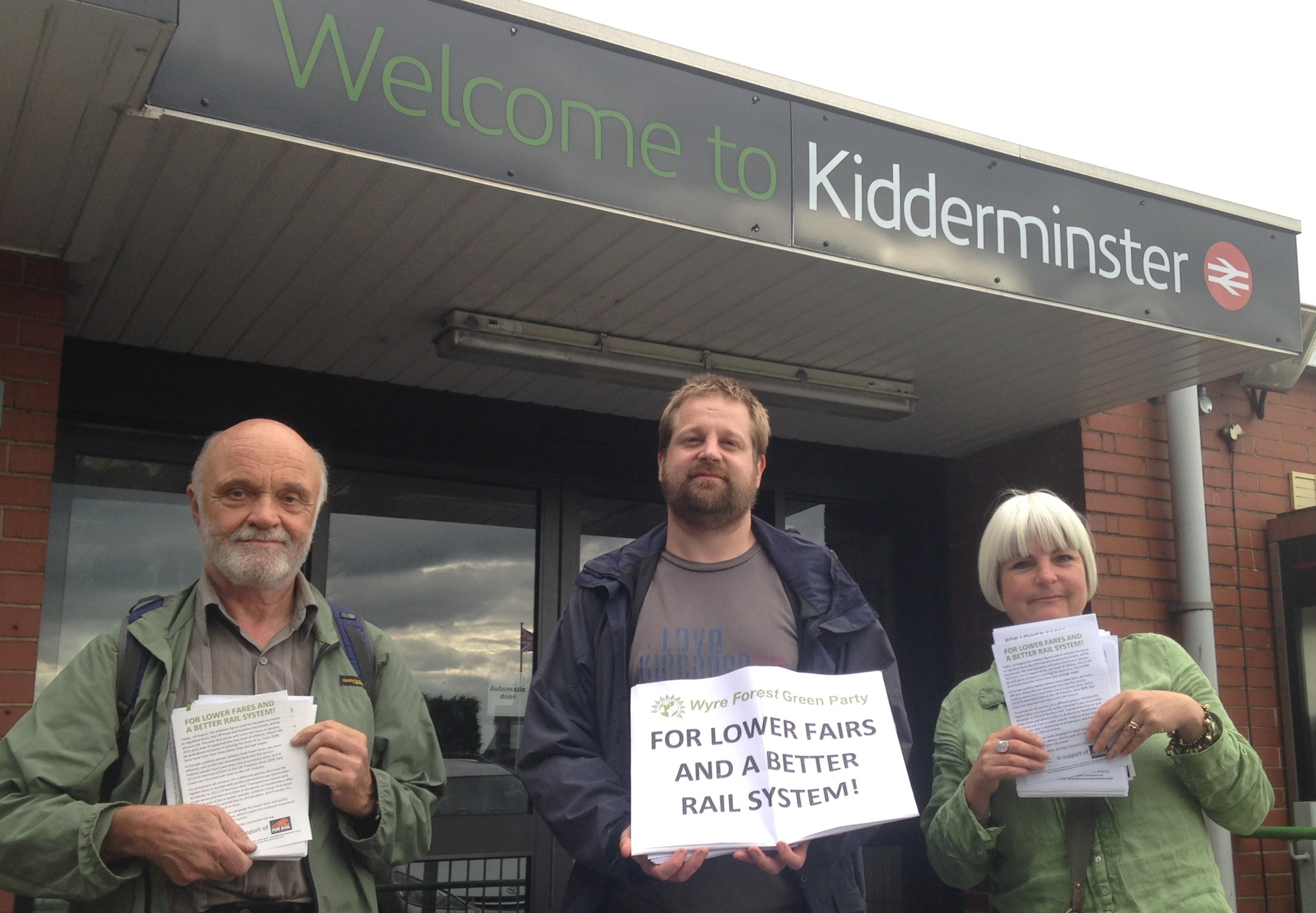 Wyre Forest Green Party members, Phil Oliver, Mart Layton and Natalie McVey call for fair rail fares and a return to the public ownership of our railways
